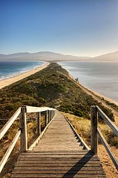 The sandy isthmus or tombolo connecting North and South Bruny Island in Tasmania, Australia