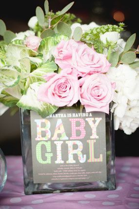 London S Pink Baby Shower With Flower Arrangements Featuring The Invitation