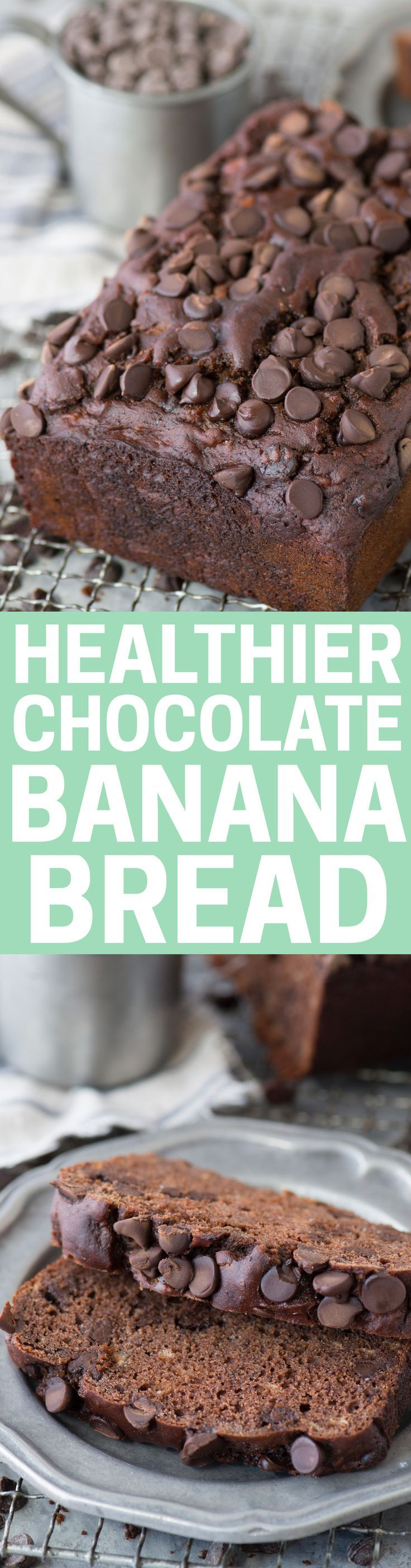 No butter, oil, or granulated sugar in this Healthier Chocolate Banana Bread. Uses greek yogurt and honey. Cut back on the chocolate chips to make it even healthier.