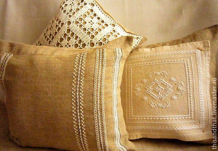 Купить Комплект льняных чехлов/наволочек на диванные подушки - бежевый…