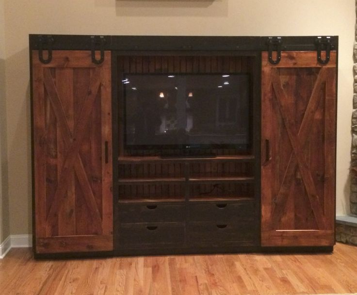 Reclaimed Barn Wood Entertainment Cabinet With Sliding