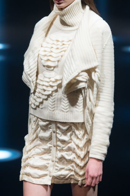 Structured knit cream skirt, turtle neck pullover and vest