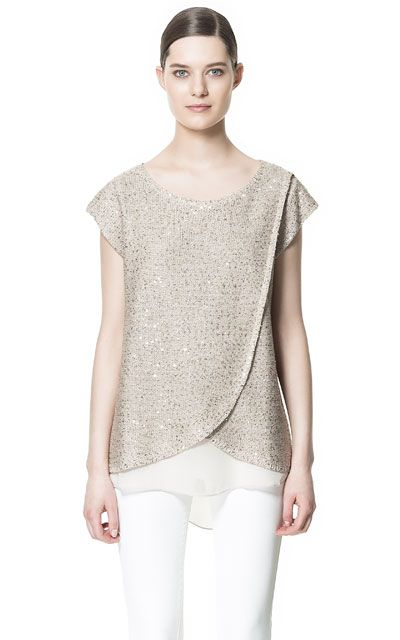SEQUINNED SHORT-SLEEVE SWEATER from Zara