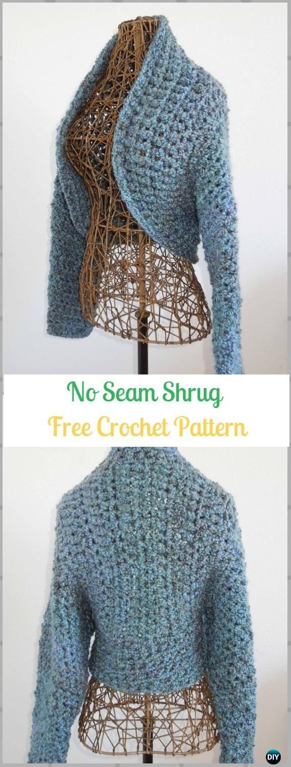Crochet No Seam Shrug Free Pattern - Crochet Women Shrug Cardigan Free Patterns