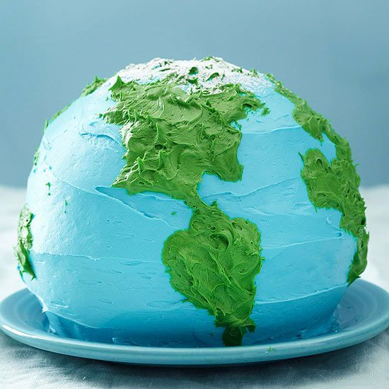 Earth Cake - Geography just got a whole lot more delicious with this global cake! More decadent cake recipes: http://www.bhg.com/recipes/desserts/cakes/best-of-cakes--magazine/
