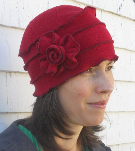 Polar Fleece Ladies Hat Flapper Cloche Cherry Red от hatjunkie