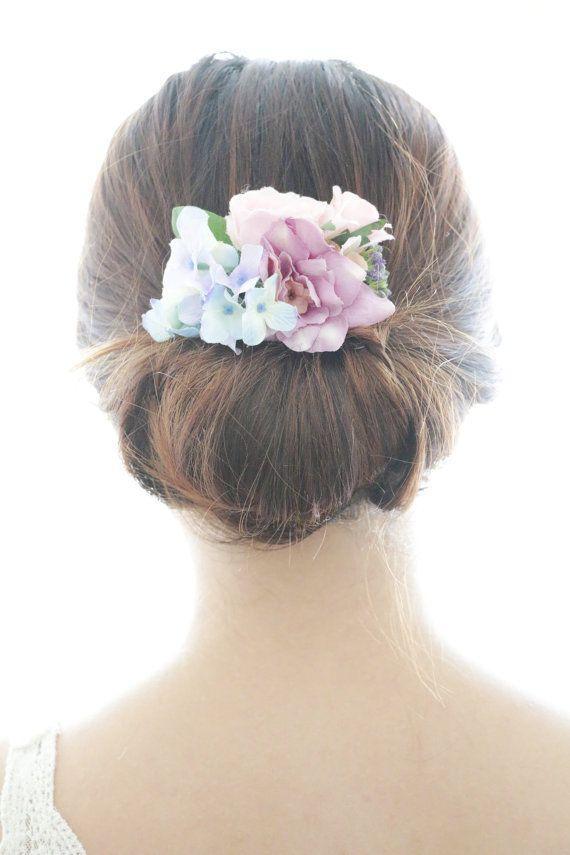 Bridal Hair Accessory, Purple Flower & Blue Hydrangea, Bridal Hair comb hairpiece flower, Bridesmaid Rustic Vintage outdoor wedding woodland