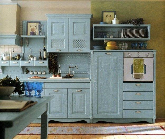 Cucina gialla e azzurra - Idee per le pareti della cucina: scegliete il giallo per dipingere se avete dei mobili azzurri