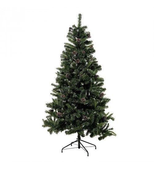 PVC TREE IN GREEN_FLOCKED COLOR W_PINE CONES  (832 tips) H-210