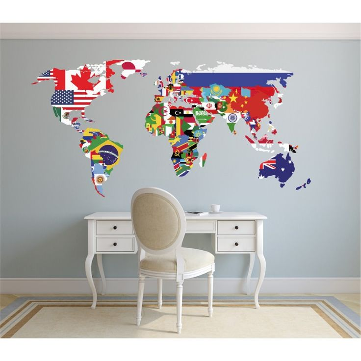 vinilo decorativo mapamundi político
