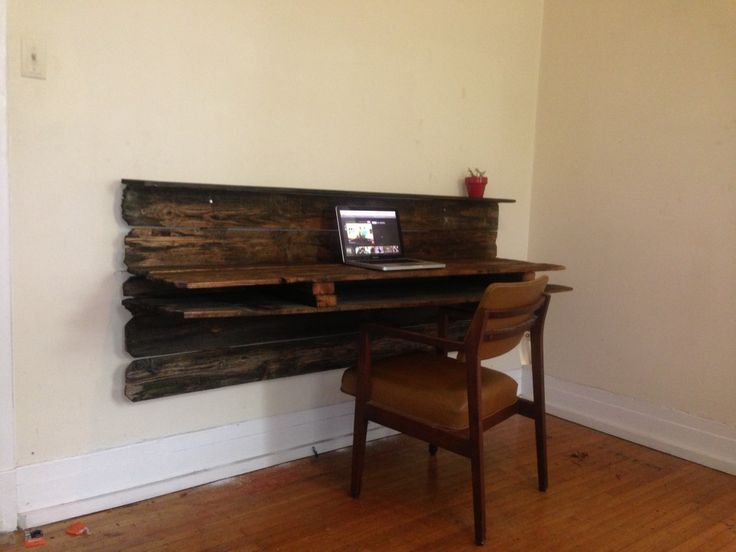Rustic floating desk and chair new office space pinterest floating desk desks and woodworking - Floating office desk ...