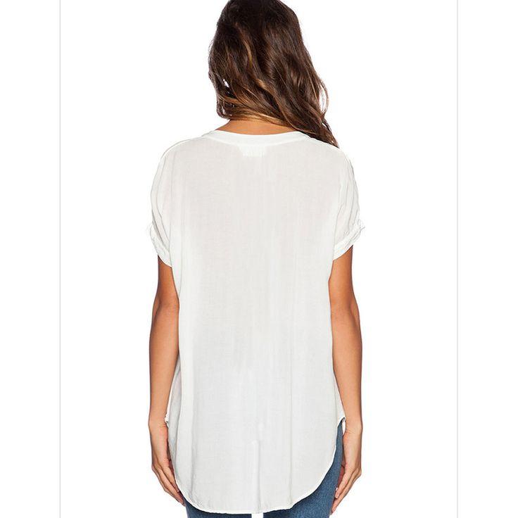 Women Female Girl Chiffon Blouse V Neck Short Sleeve T Shirts Blue Gray Orange. Click visit to buy #Blouse #Shirt #BlouseShirt