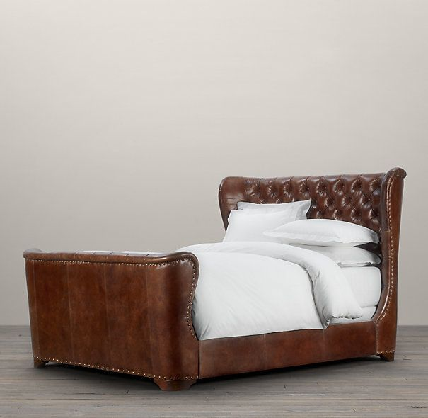 this screams bachelor and the curves of the bed give it a soft touch to - Leather Bed Frame
