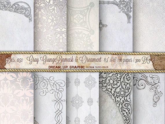 "Gray Damask Digital Paper ""ELEGANT GRAY DAMASK Digital Paper"" with antique ornaments.  Wedding invite Pack with damask background des 051"
