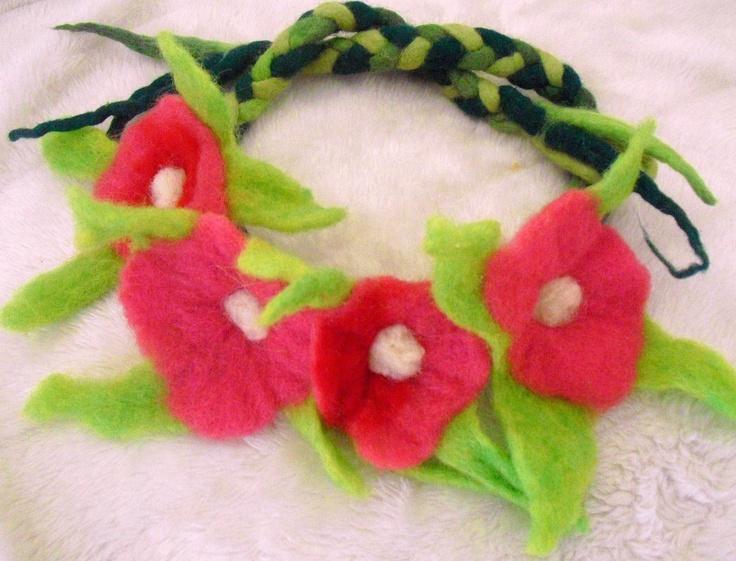 needle felted Flower Crown wool flower head piece great for weddings Renaissance festivals Fairy accessories headband. $22.00, via Etsy.