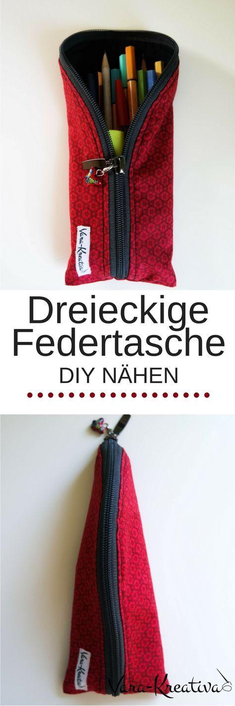 Dreieckige Federtasche, Federmappe, Schlamper, DIY Nähen, DIY Geschenke, Vara-Kreativa
