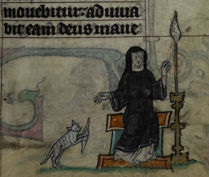 Detail of a miniature of a nun spinning thread, as her pet cat plays with the spindle; from the Maastricht Hours, the Netherlands (Liège), 1st quarter of the 14th century, Stowe MS 17, f. 34