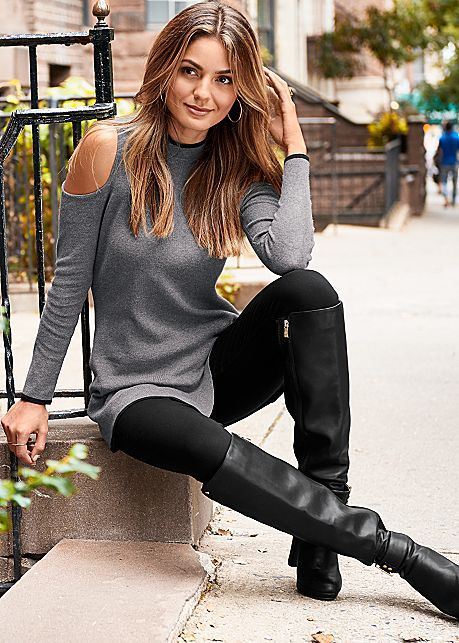 PIPED TURTLENECK SWEATER, SLIMMING STRETCH JEGGINGS, DETAIL OVER THE KNEE BOOT