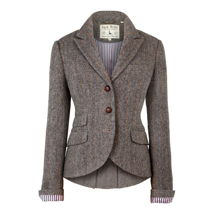 Grey Herringbone classic blazer from Jack Wills. Goes with the Kilt, various tweed trousers, Chinos and skirts. For non-work is goes with my crushed-velvet trousers and leather jeans