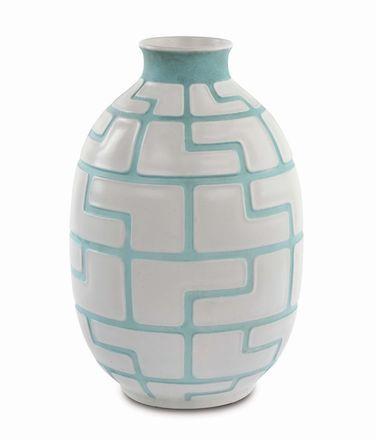 Giovanni Gariboldi - Richard Ginori San Cristoforo - Vaso mod. 7398 ceramica smaltata in colore bianco verde. Decoro geometrico a rilievo, 1948 circa