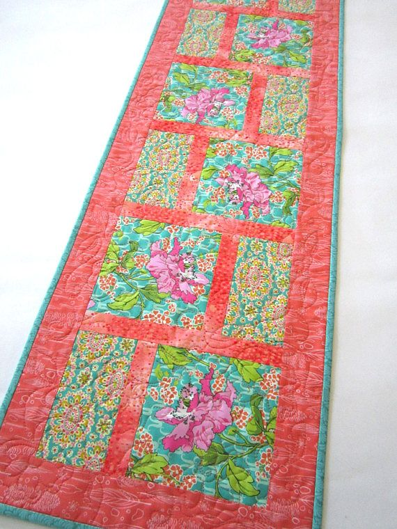 Quilted Table Runner | Table Runners Handmade | Floral Table Runner | Contemporary Table Runner | Coral Teal Runner | Handmade Gifts for Her 14 x 45 Such gorgeous colors are in this quilted table runner. The fabrics have mainly pink, coral and teal. Its such a stunning combination.