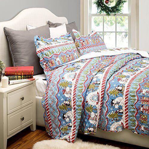 Bedding Christmas Polar Bear Reversible Quilt Coverlet Set Bedspread Full Queen  #Bedsure