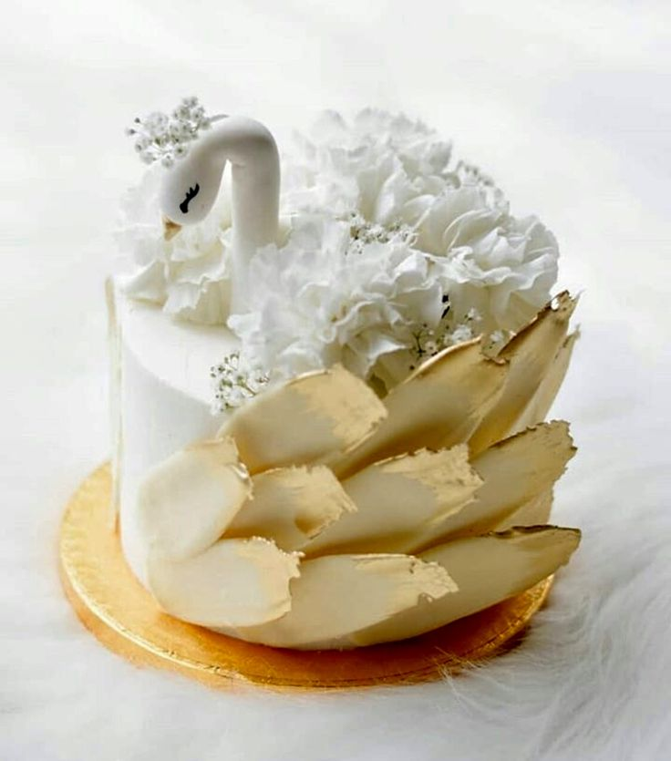 Swan Cake with brushed chocolate feathers.