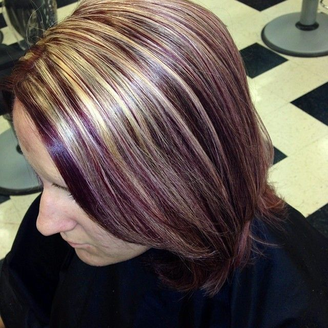 Red Violet Hair Color With Blonde Highlights Find Your Perfect