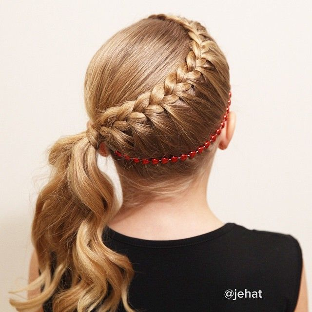 Lace braid to hair wrapped ponytail inspired by @flettemia Happy Birthday Maria! #Flettemia_HappyBirthday I made this headband out of a cute heart beaded necklace & love it! ❤️ #twinshair...