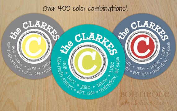 Personalized Return Address Labels with Color Options: The Family Circle