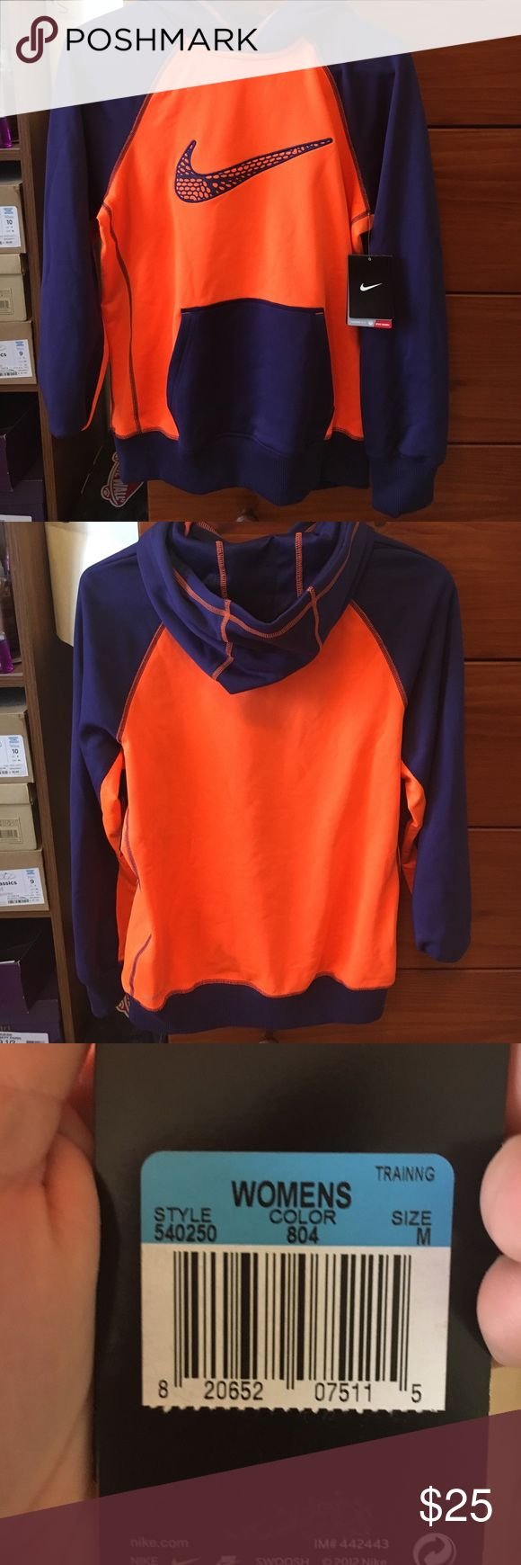 Women's Nike sweatshirt!! (Never worn) Bright orange and Navy blue! Just too small for me! Nike Jackets & Coats Utility Jackets