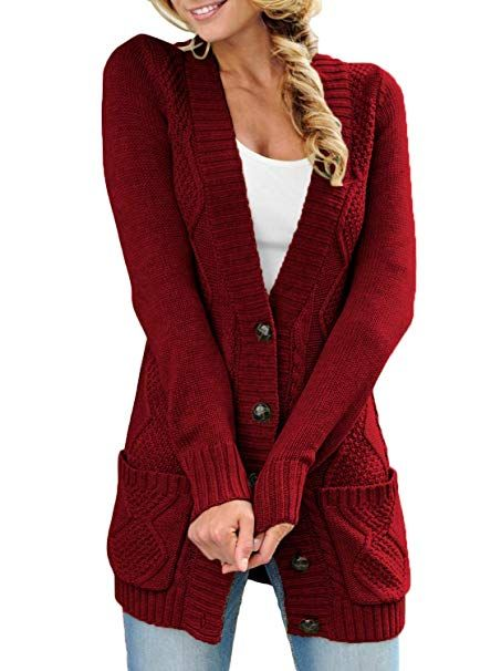 Sidefeel Women Hooded Knit Cardigans Button Cable Sweater Coat At