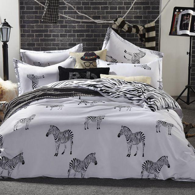 Cebra blanco y negro juego de cama Rey reina completo doble tamaño de hoja plana funda nórdica funda de almohada 3/4 unids ropa de cama conjunto