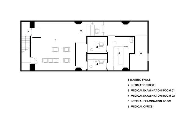 クリニック (診療所)の内装デザイン 平面図