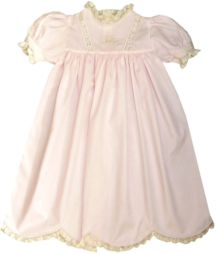 Heirloom Dress Victoria with Embroidered Bow Bodice, Sleeve French Lace Inserts, French Lace trim and Satin Ribbon