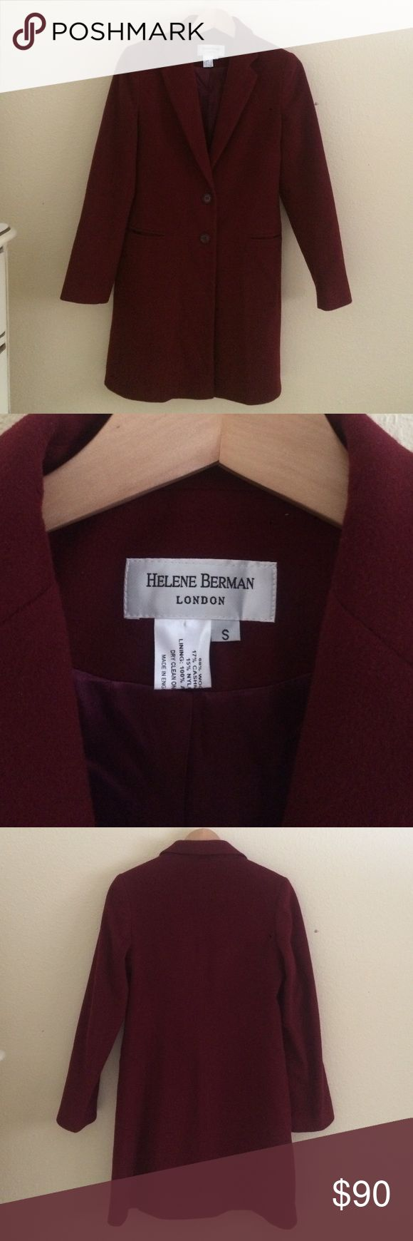 """Cashmere Blend Coat Helene Berman London Helene Berman London coat size S. 68% wool 17% cashmere 15% nylon with lining 100% acetate. made in England, dry clean. soft and lightweight. excellent condition. approx length from top collar 37"""", approx 24"""" sleeve, 2 button closure. last picture is example only of what it looks like on from Nordstrom website- firt 3 pictures is actual coat in this listing. smoke free home. offer buttom only please. Helene Berman Jackets & Coats Trench Coats"""