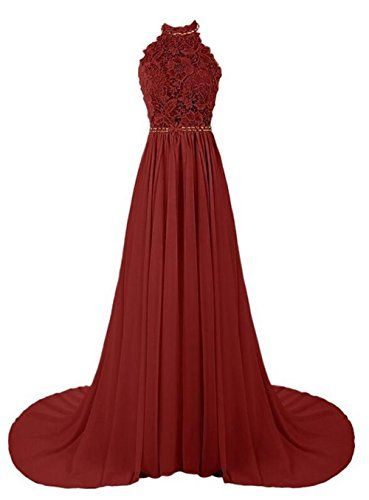 Queenworld Women's Long Prom Dresses Bridesmaid Dress US-0 Burgundy Queenworld