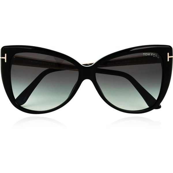 Tom Ford Reveka Cat Eye Sunglasses (£285) ❤ liked on Polyvore featuring accessories, eyewear, sunglasses, black, tom ford glasses, cocktail glasses, oversized glasses, logo sunglasses and uv protection glasses