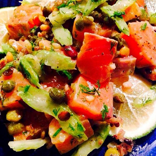 雑穀がええんです - 147件のもぐもぐ - 雑穀セロリサーモンのサラダ by 太田 Tommy