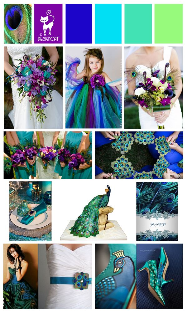 Peacock themed Wedding Inspiration Colour Board - Purple, Blue, Turquoise, aqua, lime green - By Designcat
