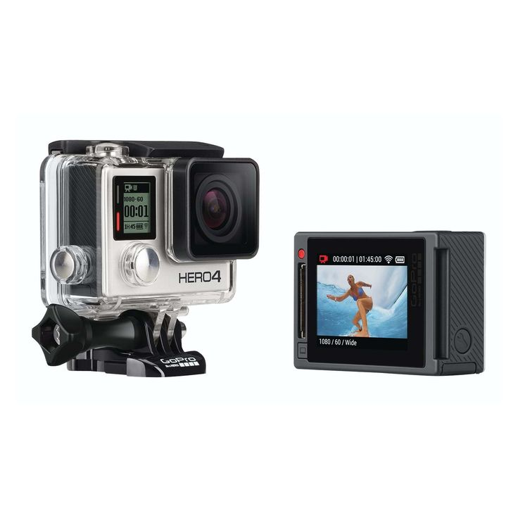GOPRO - GoPro Hero 4 Silver Edition - GOPRO - GoPro Hero 4 Silver Edition FEATURES Pro-quality capture. Touch-display convenience. Capture your world in an all-new way with HERO4 Silver, the first-ever GoPro to feature a built-in touch display. Controlling the camera, framing shots and playing back content is now ultra convenient—just view, tap and swipe the screen. HERO4 Silver captures 1080p60 and 720p120 video with lifelike clarity, plus 12MP photos at a staggering 30 frames per second…