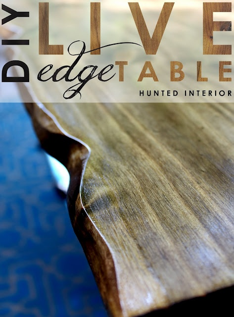 DIY live edge table.: Idea, Diy Living, Diy'S, Living Edge Tables, Outdoor Tables, Hunt'S Interiors, Patio Tables, Live Edge Table, Dining Tables