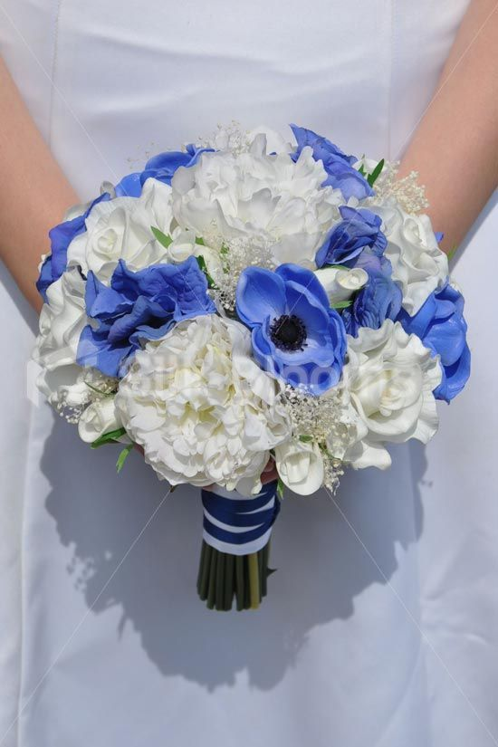 Royal Blue Anemone and Hydrangea, White Rose and Real Preserved Gypsophila Bridal Bouquet