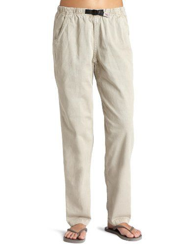 """Gramicci Women's 33-Inch Inseam Vintage Reverse Leg G Pant (Stone, Small) by Gramicci. $30.95. Freedom of Movement Gusset. 100% Cotton. Fit: High Rise - Freestyle fit with 9"""" - 8.5"""" Rise with a tapered leg known as the Vintage Fit. EZ Cinch and Release Belt/Flex-Fit Waistband. Wash Before Wearing in Cold Water. Gramicci's Original G Climbing Pant Circa 1988 - This iconic pant is made of Stout Weave Double Spun Cotton. Closed end combed and woven cotton twill, equ..."""