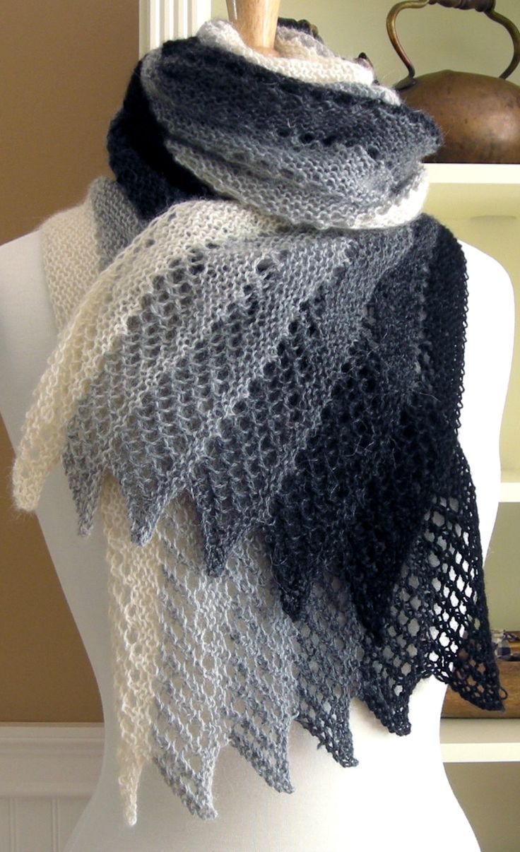 Three Color Scarf Knitting Pattern : Knitting Pattern Mistral Scarf - #ad Lace scarf that designer rates as easy t...