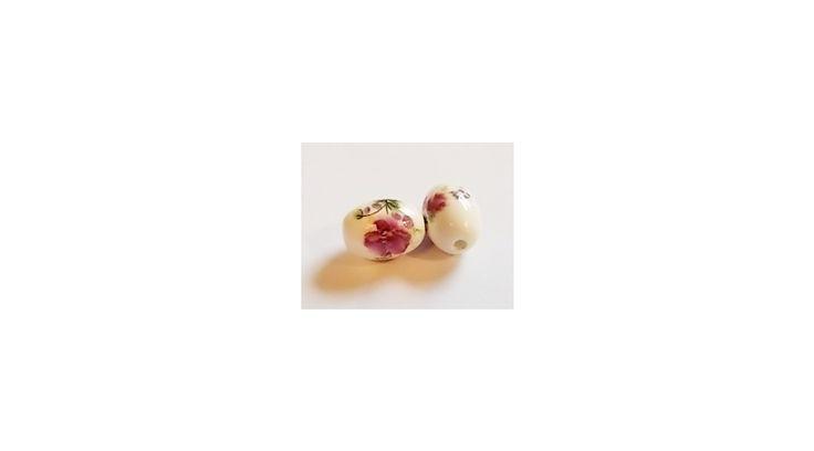 Ovális alakú, fehér alapon virág mintás, kézi készítésű kerámia gyöngy - Kerámia…