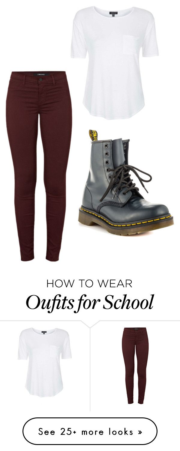 """Simple Outfit for School"" by bluejay22 on Polyvore featuring J Brand, Topshop and Dr. Martens"