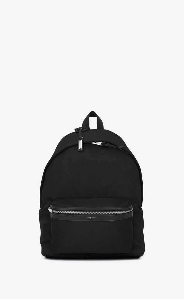 8010791b9 SAINT LAURENT Backpack Man city backpack in black nylon canvas and leather  a_V4