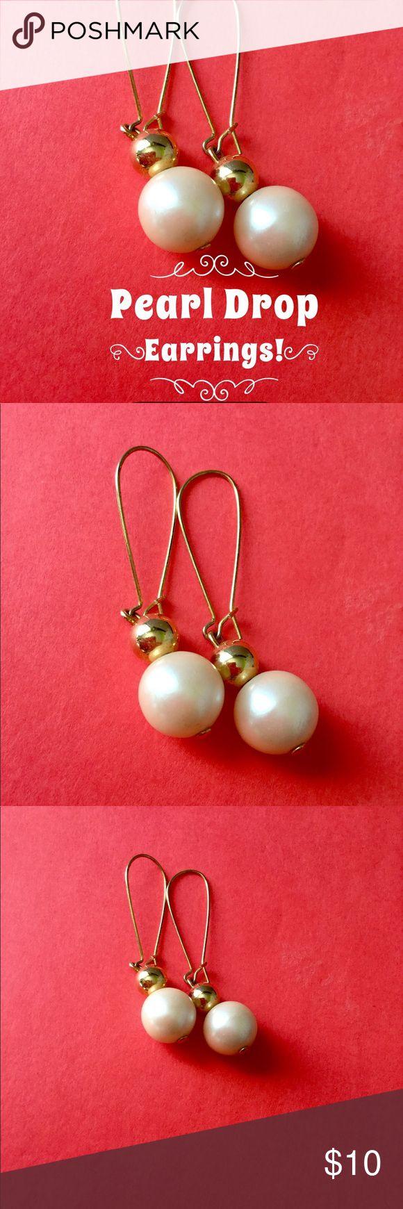 Nett! Gold Perle Ohrringe für Ohrlöcher Ca. zwei Zoll, sehr n …   – My Posh Picks