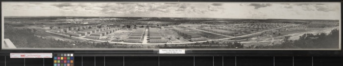This picture is a panoramic photograph of Camp Wolters in Mineral Wells, Texas, the largest infantry replacement center in 1941. Labels on photograph identify (left to right) Target Range, Regimental Area No. 4, Dental Clinic,Guest House, Service Club, Theater, Regimental Area No. 3, Infantry Replacement Center/Headquarters Area, Regimental Area No. 6, Warehouse Area, Corps Area Service Command and Hospital Area, Regimental Area No. 2, Regimental Area No. 1, and Machine Gun Range.